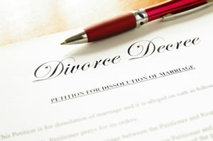 divorce decree paperwork and pen
